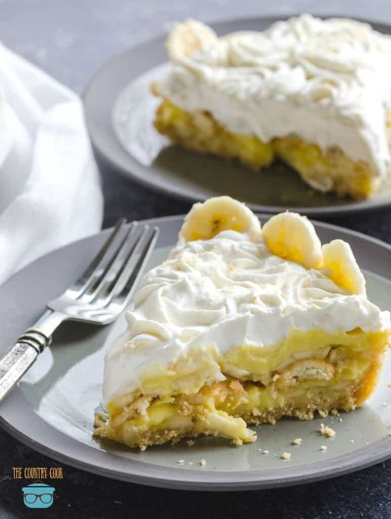 Banana Pudding Pie, homemade, slice on a grey plate with a fork