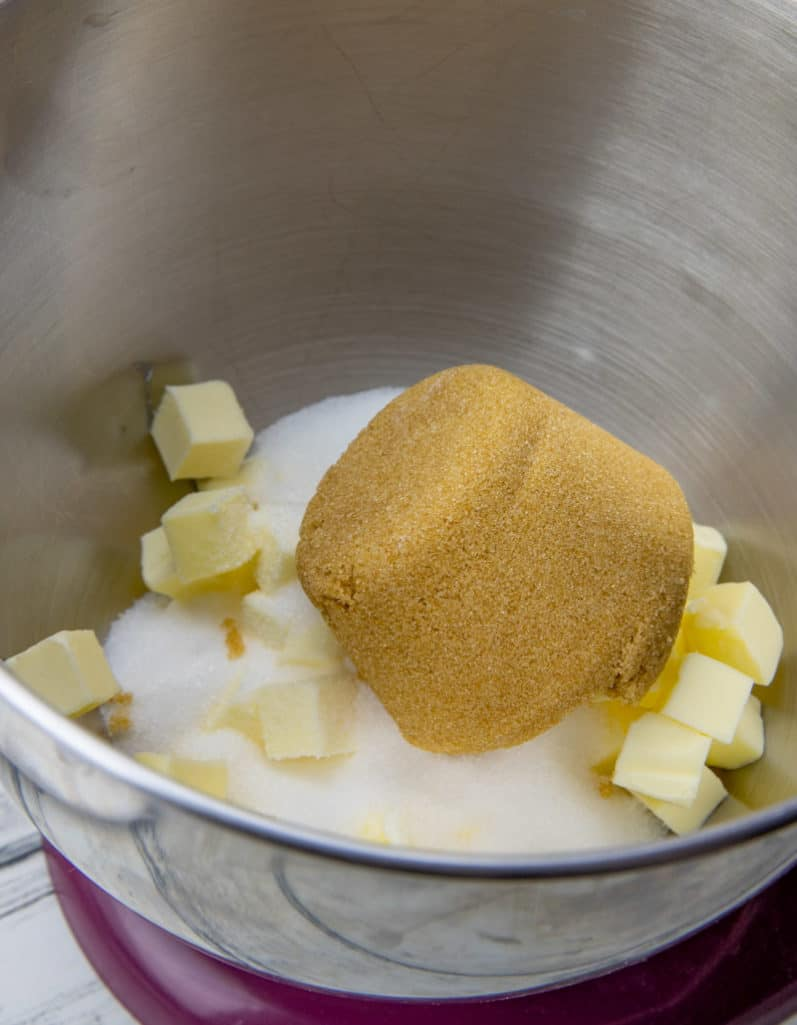 sugar, light brown sugar and cubed butter in a large mixing bowl