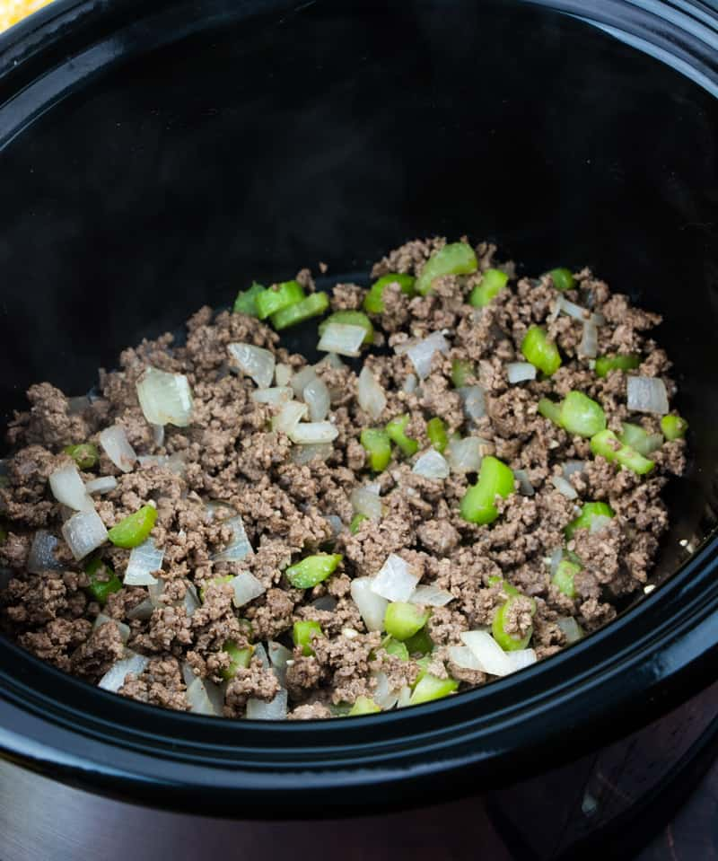 ground beef, celery and onion into the bottom of a slow cooker