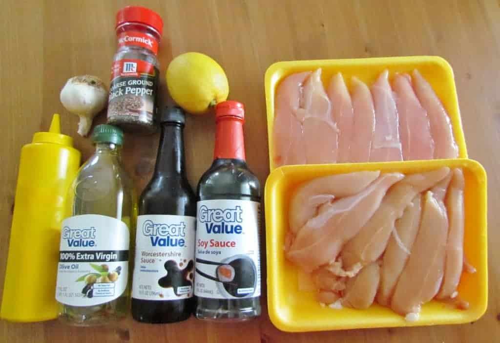 chicken tenders, soy sauce, mustard, Worcestershire sauce, lemon, garlic, olive oil