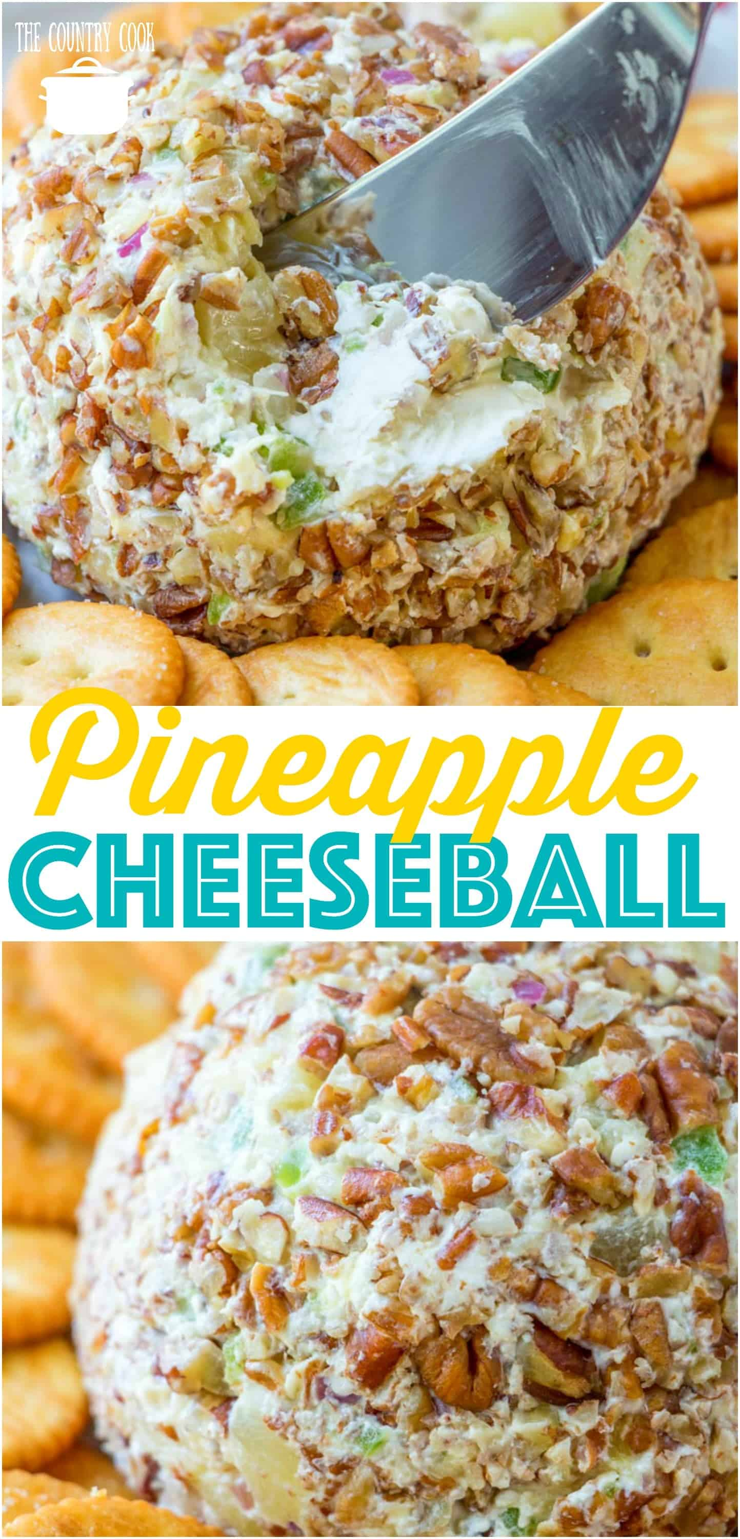 The Best Pineapple Cheeseball recipe from The Country Cook #cheeseball #creamcheese #recipes #ideas #appetizer #holiday #easy #thebest #party #entertaining #pecans