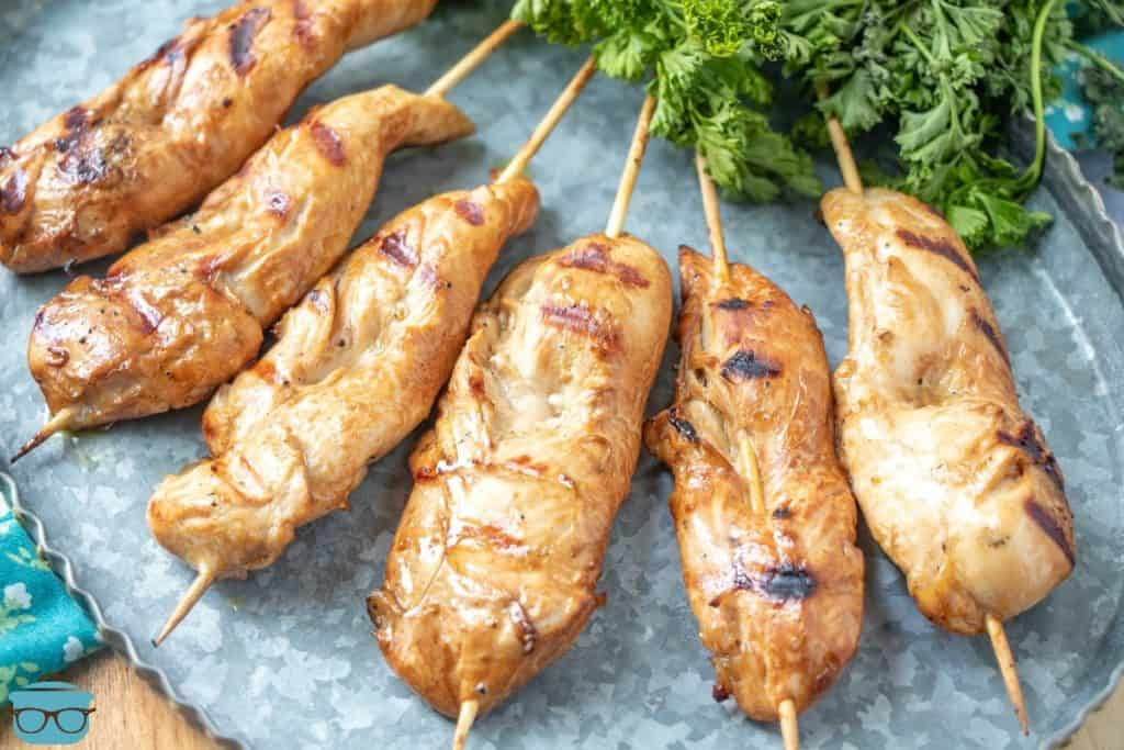 The Best Grilled Chicken Marinade for chicken on a stick