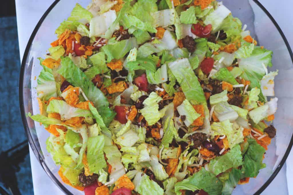 Dorito Taco Salad combined in a bowl