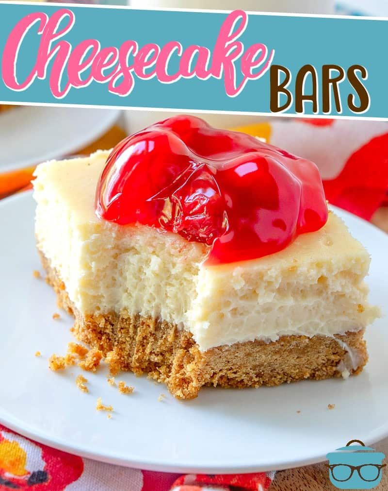 Cherry Cheesecake Bars! So simple and easy to slice and serve! Creamy cheesecake filling in a homemade graham cracker crust. Perfection! #cheesecake #desserts