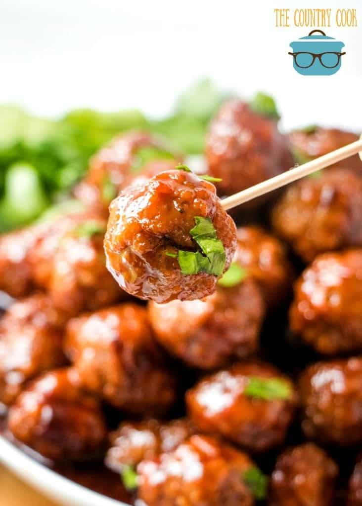 Crock Pot Glazed Meatballs, perfect for parties