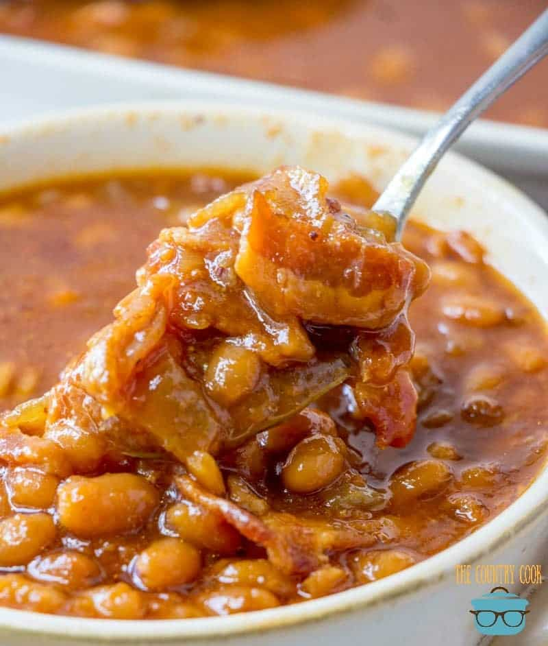 Virginia Baked beans in a bowl, spoonful
