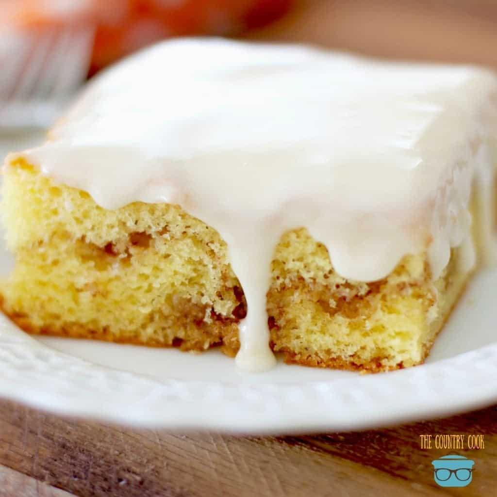 Glazed Honey Bun Cake, slice