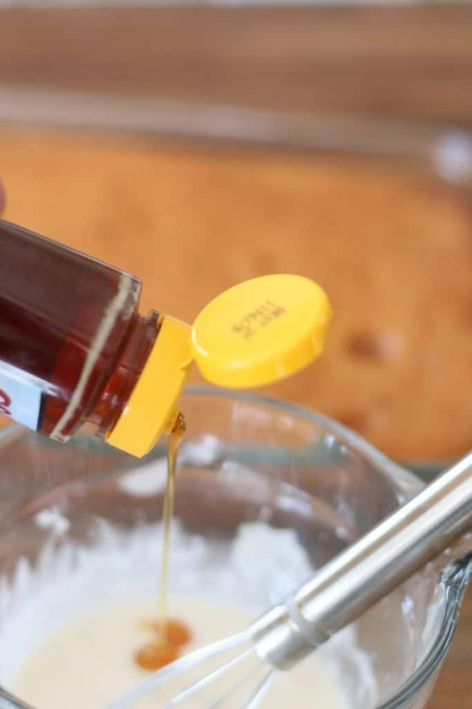 powdered sugar, milk, vanilla and honey mixed together to make a glaze