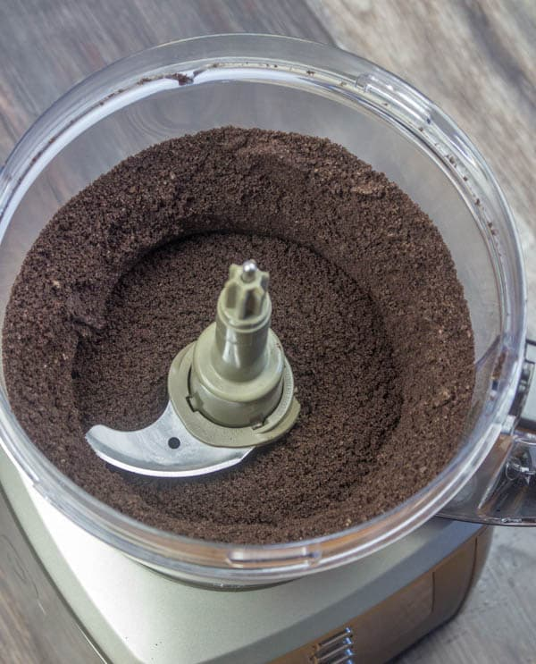 finely ground Oreo cookies in a food processor