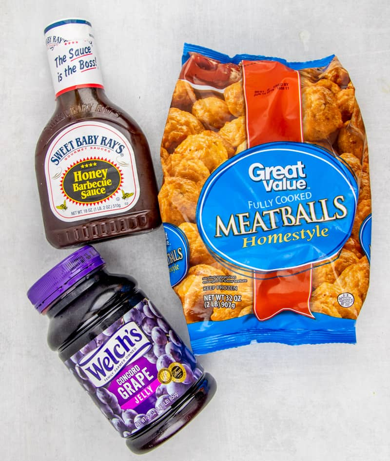 frozen meatballs, grape jelly, bbq sauce
