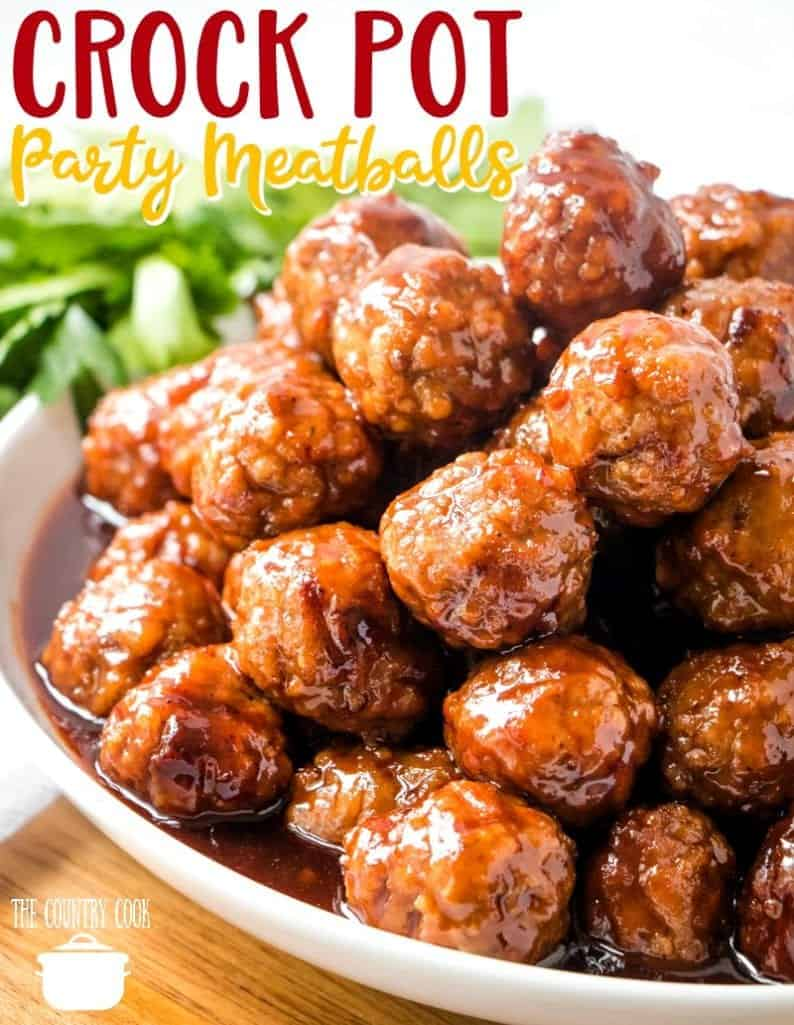 Easy Slow Cooker Glazed Party Meatballs recipe from The Country Cook