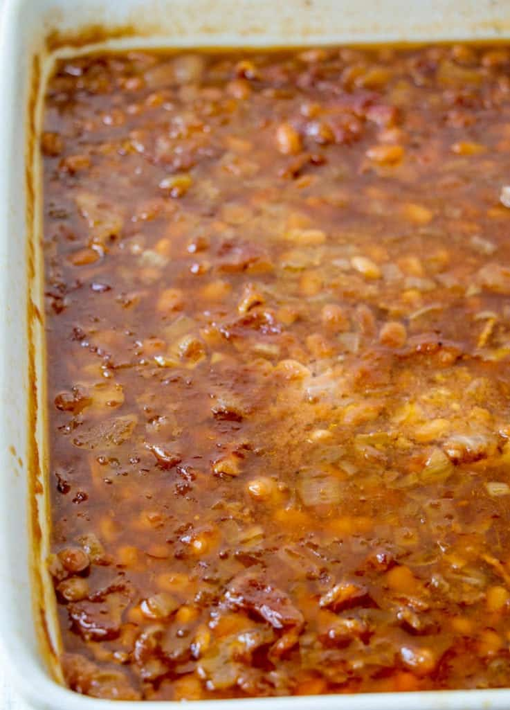cooked, homemade baked beans