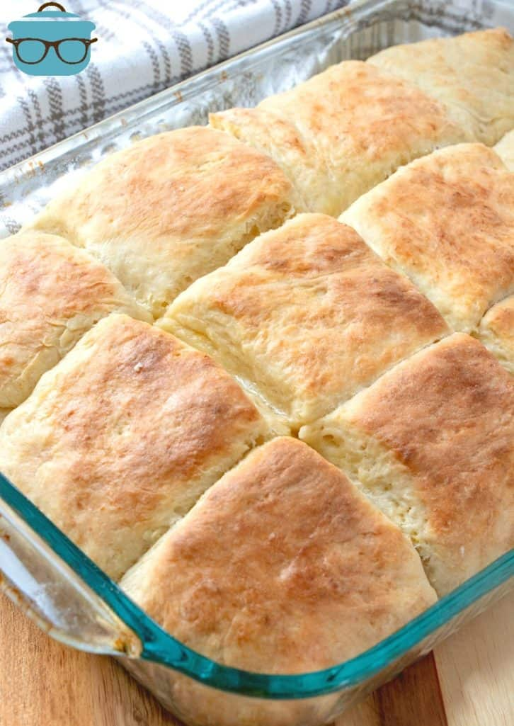 fully baked biscuit yeast rolls In a glass baking dish