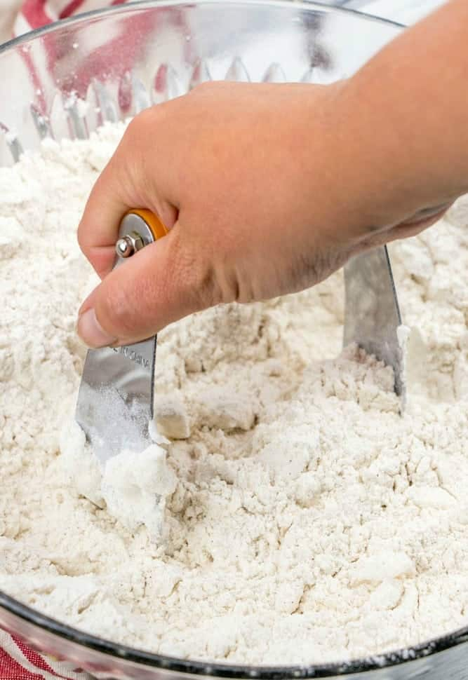 cutting in vegetable shortening into flour mixture
