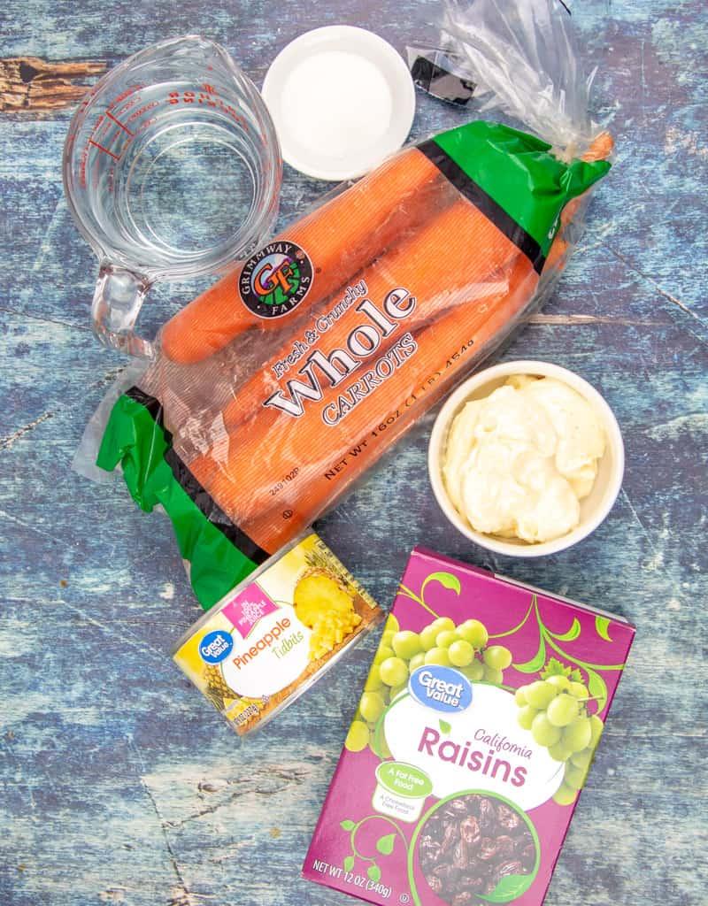 carrots, raisins, pineapple tidbits, sugar