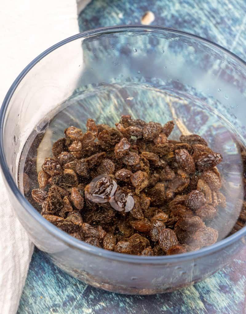 raisins soaking in warm water