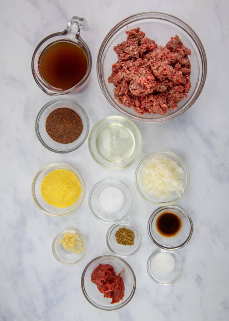 lean ground beef, onion, garlic, chili powder, sugar, cumin, Worcestershire sauce, tomato paste, beef broth (or water), corn meal, kosher salt, vegetable oil