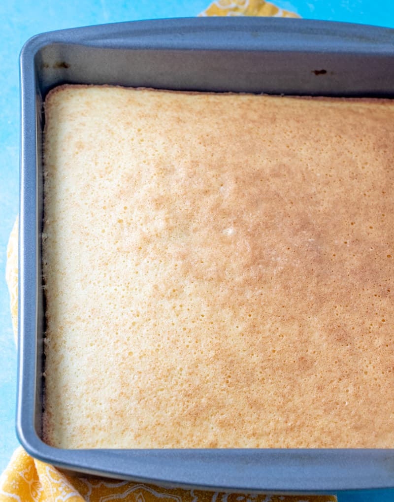 finished hot milk sponge cake in baking pan