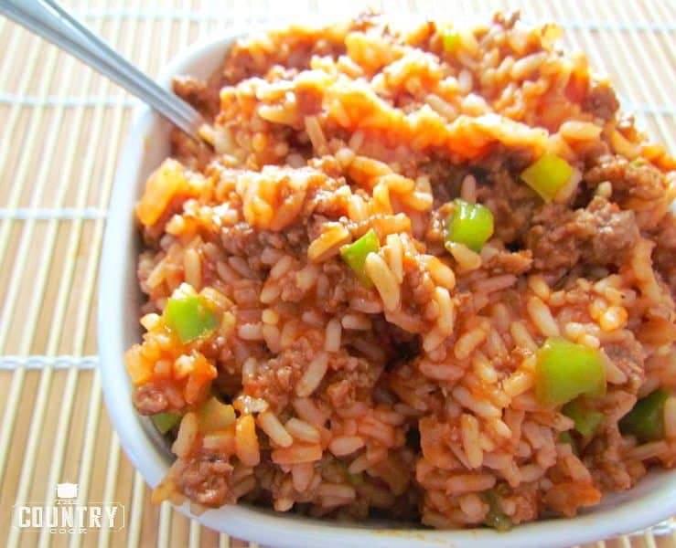 Spanish style rice the country cook i just love the smell of this when it is cooking there is just something about the smell of green peppers onion and ground beef cooking that instantly ccuart Choice Image