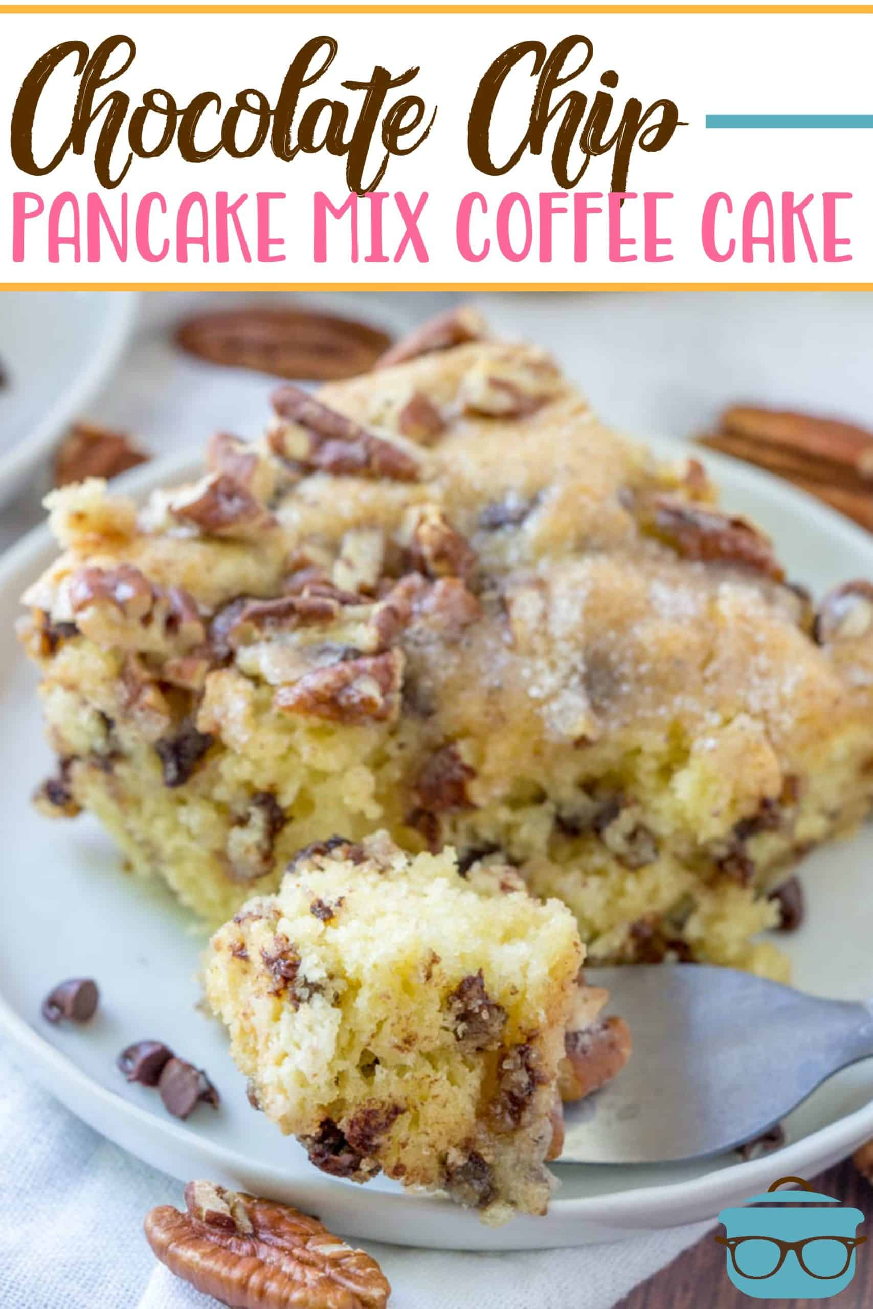 This Chocolate Chip Coffee Cake starts off so easy by using pancake mix with a few extra ingredients. For a snack, breakfast or dessert!