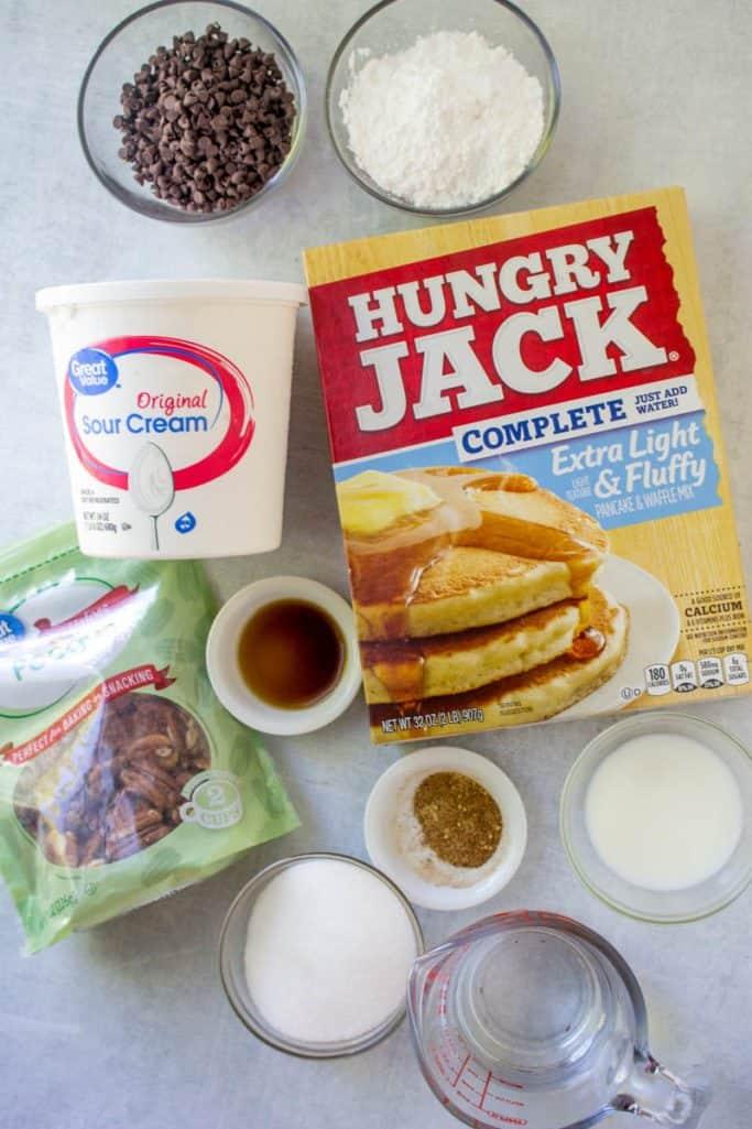 Hungry Jack pancake mix, mini chocolate chips, sour cream, vanilla extract, sugar