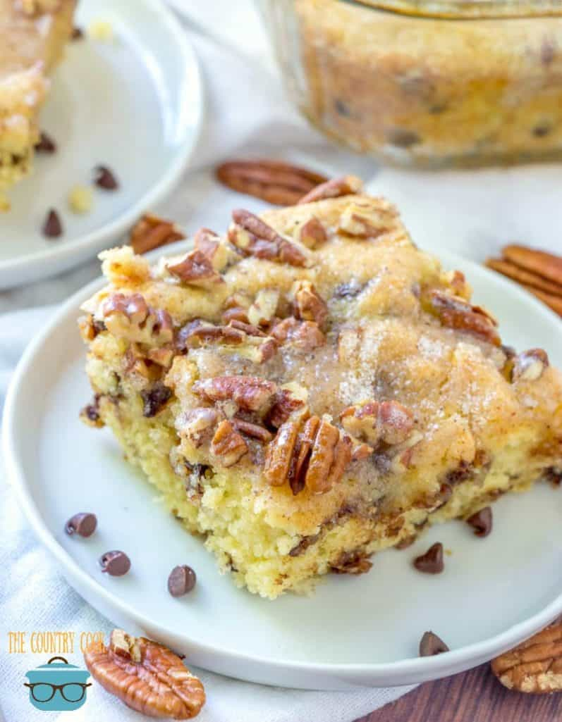 Chocolate Chip Pancake Batter Coffee Cake with mini chocolate chips