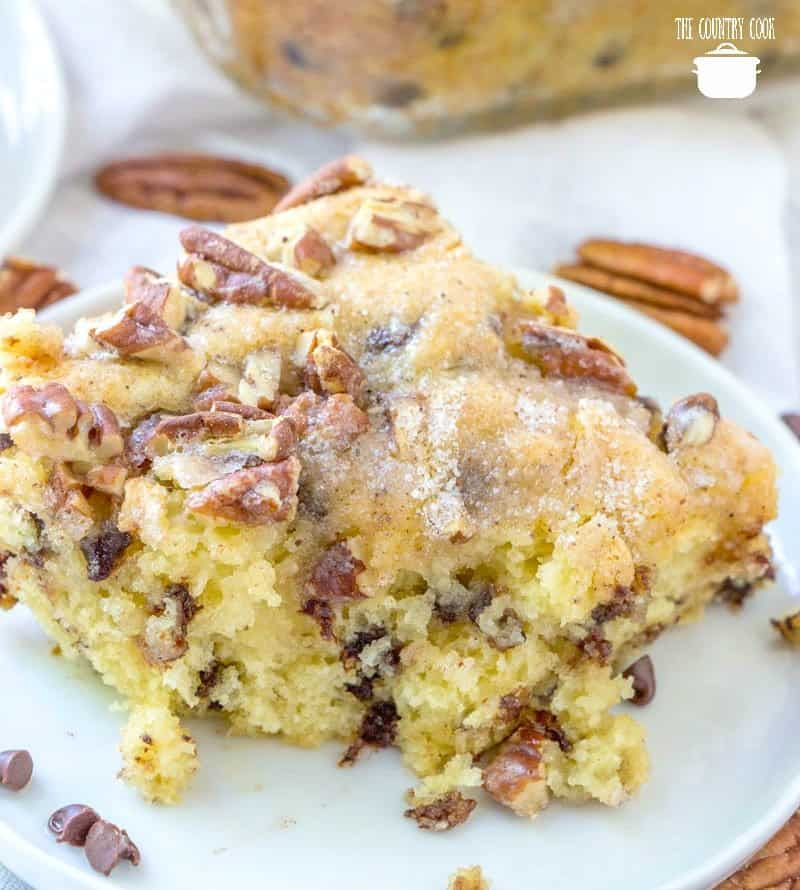 Chocolate Chip {pancake Coffee Cake with pecans on a white plate