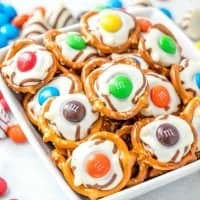 White Chocolate M&M Pretzel Bites with Hershey's Hugs
