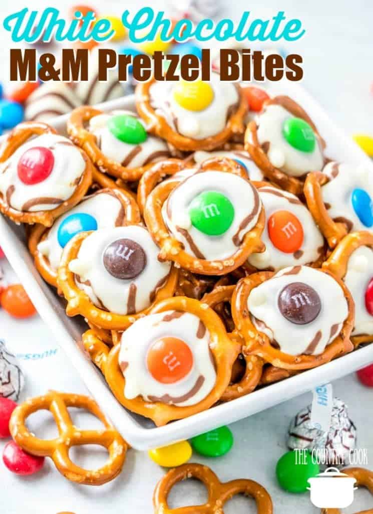 White Chocolate Hershey's Hugs M&M Mini Pretzel Treats (sweet and salty) recipe from The Country Cook