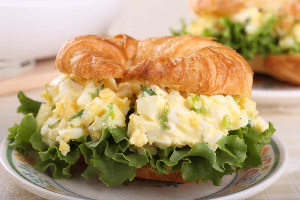 egg salad on a croissant
