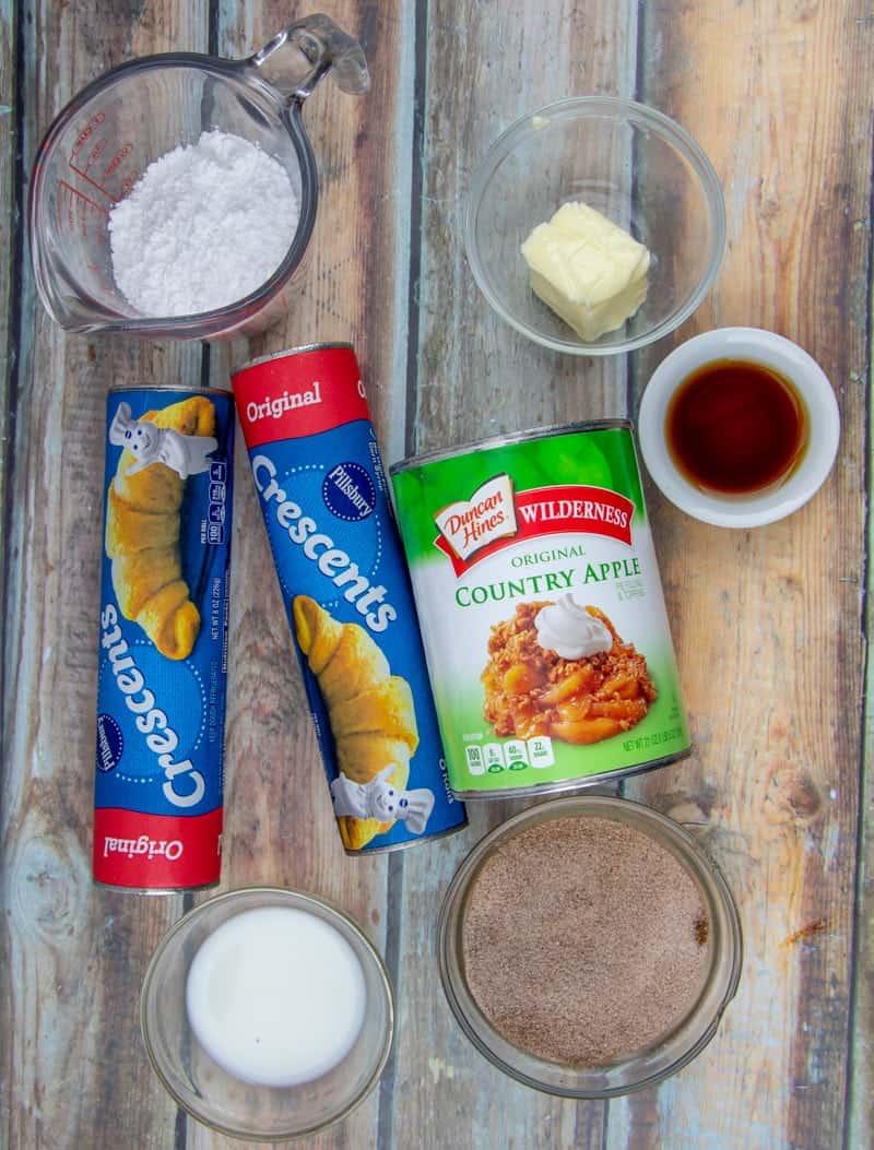 crescent rolls, apple pie filling, vanilla extract, sugar, cinnamon, butter.