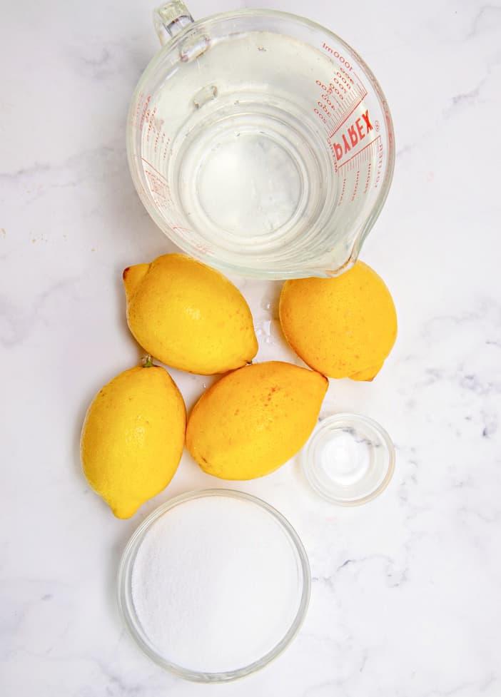 Ingredients needed: lemons, sugar, lemon extract, water
