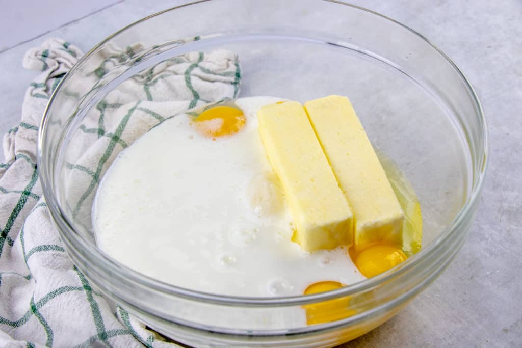 eggs, butter, sugar and buttermilk in a large glass bowl