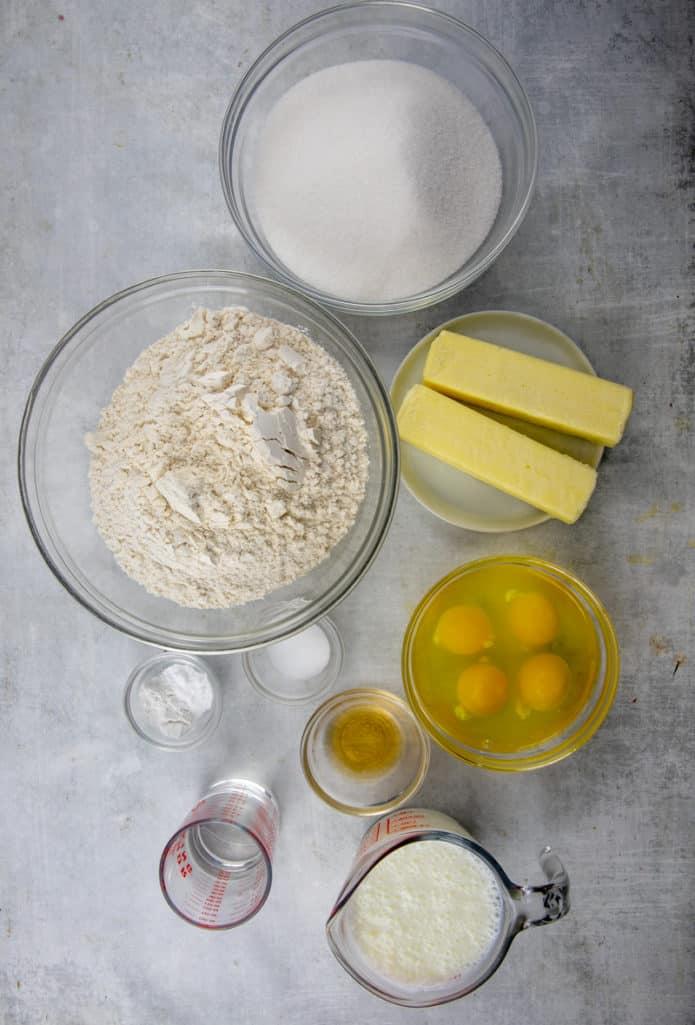 KENTUCKY BUTTER CAKE ingredients: sugar, eggs, unsalted butter, rum, REAL buttermilk, all-purpose flour, salt, baking powder, baking soda