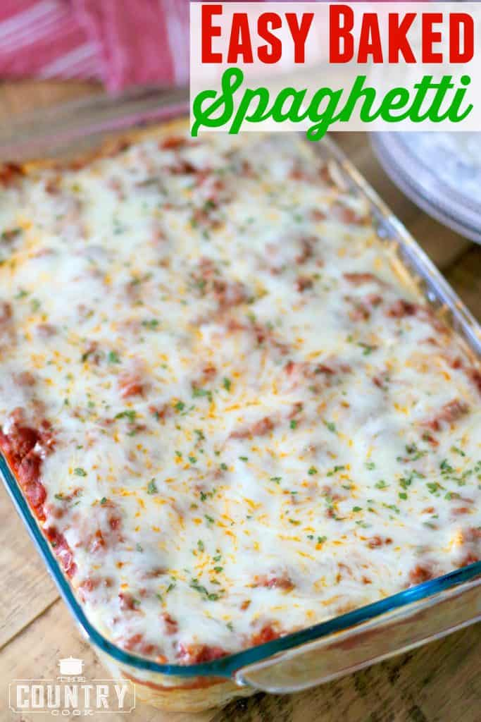Easy Baked Spaghetti (Spasagna) recipe from The Country Cook