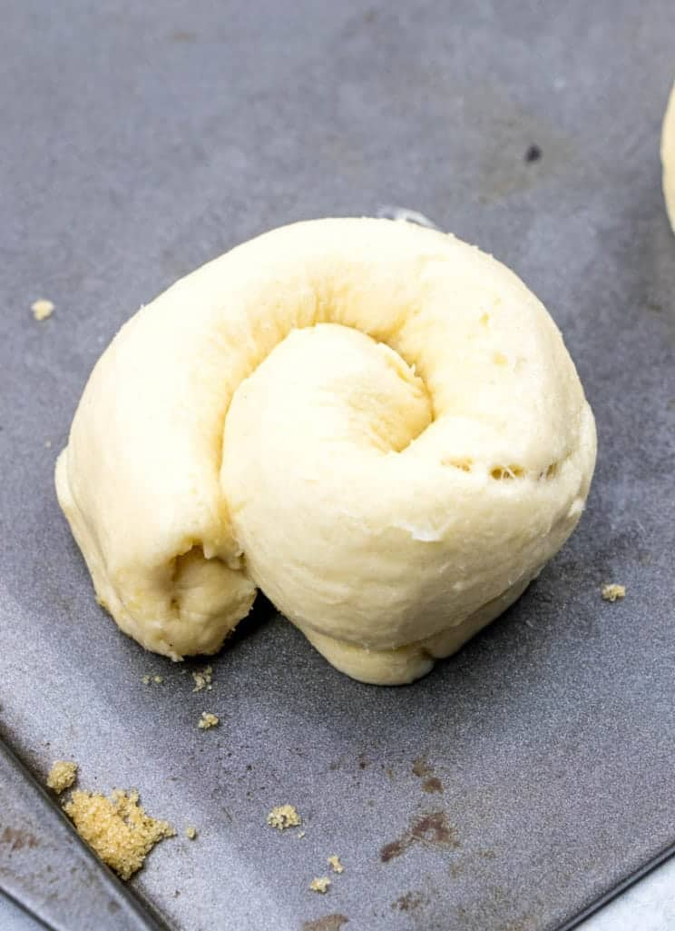 coiled crescent roll dough to make a danish shape