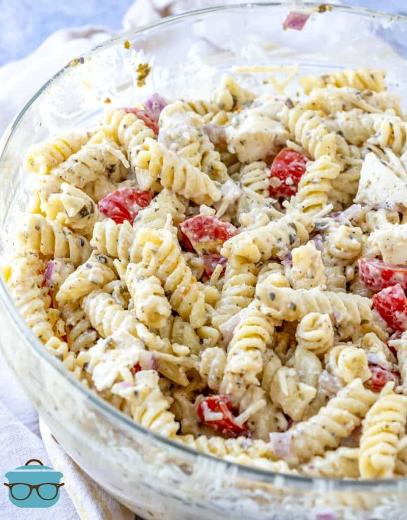 completed Caesar Basil Pasta Salad in a bowl