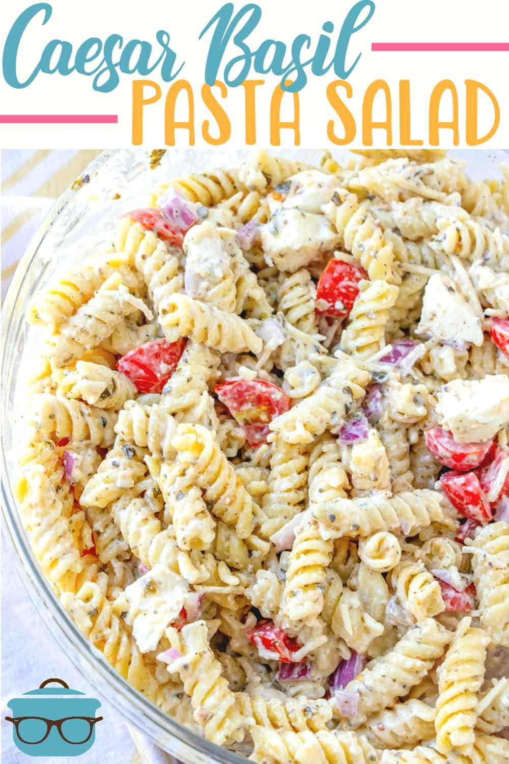 This Caesar Basil Pasta Salad is a unique but simple recipe. Made with rotini pasta, a caesar basil pesto dressing, cherry tomatoes and fresh mozzarella!