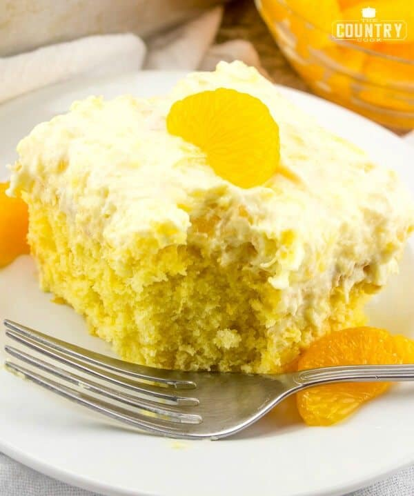 Pea Pickin Cake recipe (boxed cake mix, mandarin oranges and pineapple cool whip)