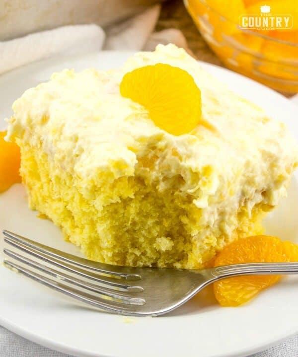 Pea Pickin Cake recipe (boxed cake mix, mandarin oranges and pineapple cool whip)