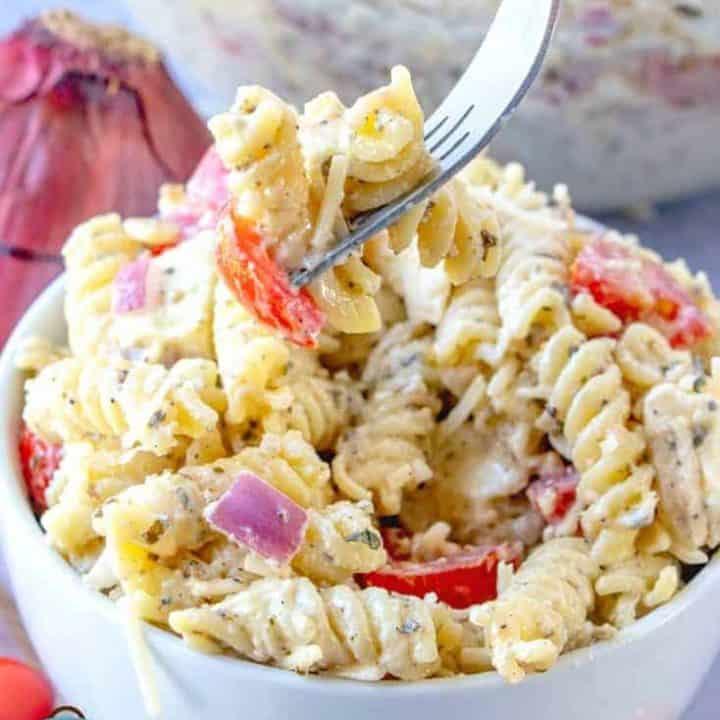 forkful, Caesar Basil Pasta Salad
