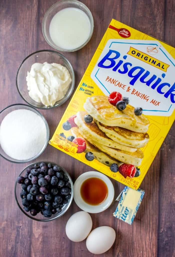 Bisquick, blueberries, sour cream, butter, vanilla extract, sugar