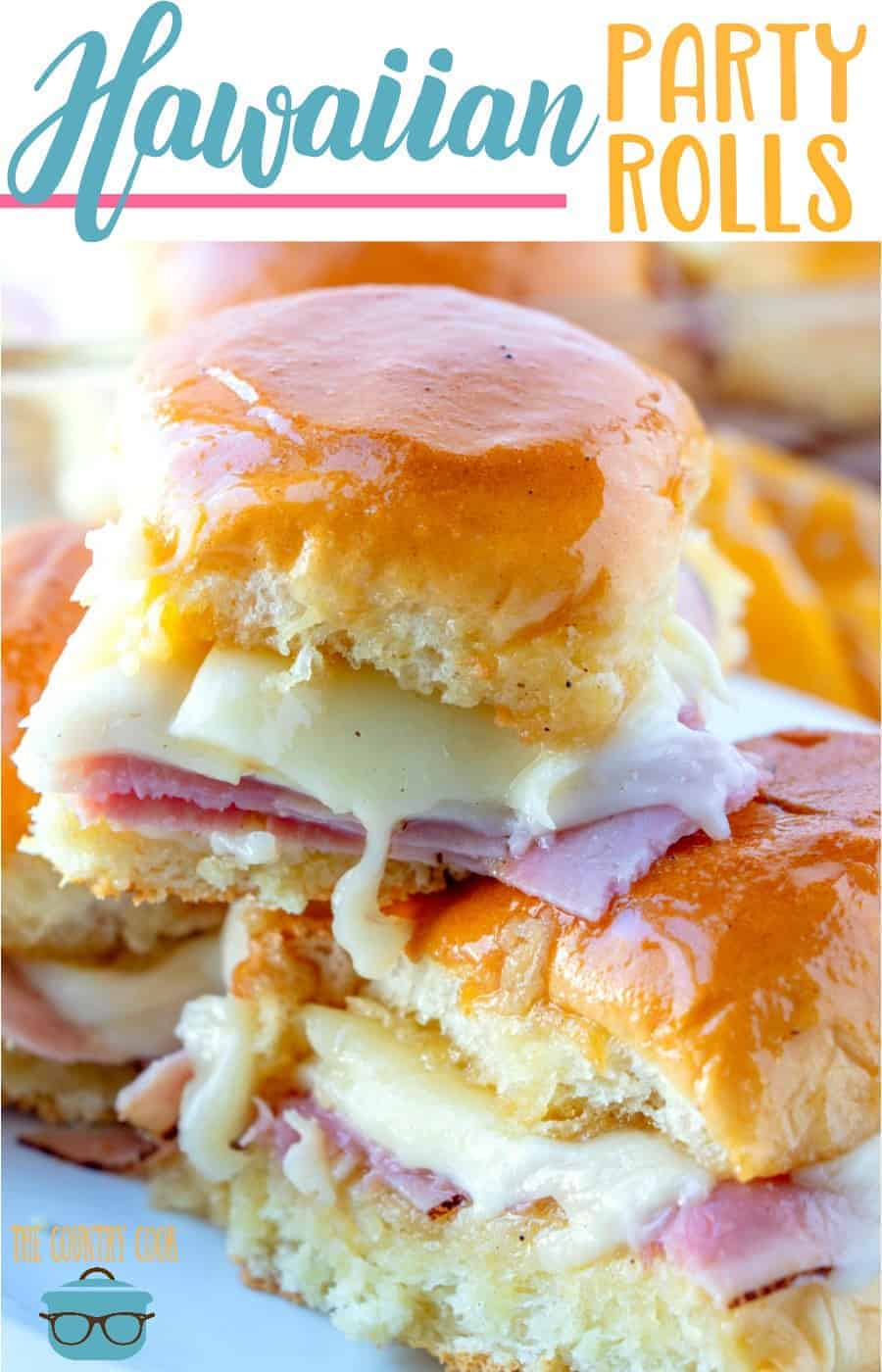 Ham and Cheese Hawaiian Party Rolls recipe from The Country Cook #appetizer #party