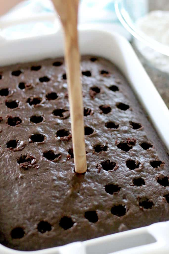 chocolate cake poked with holes
