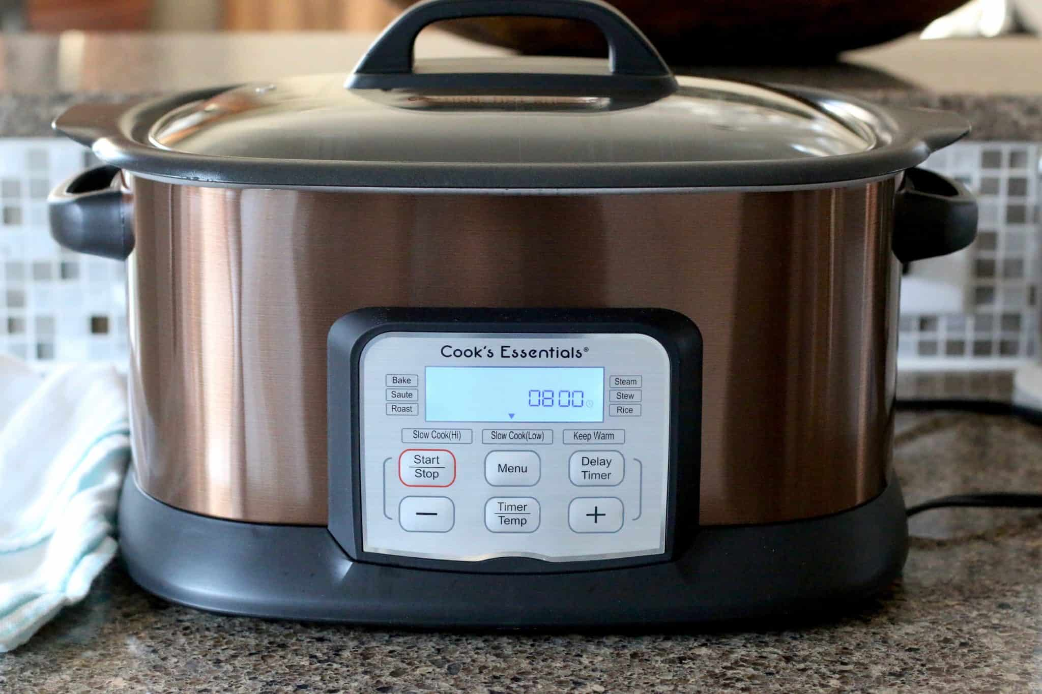 6 quart oval slow cooker set on low temperature for 8 hours.