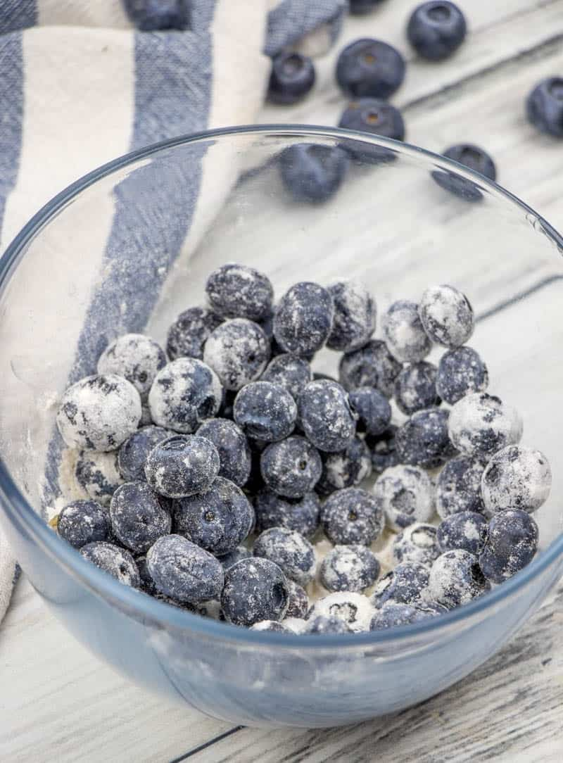 blueberries tossed together with all purpose flour.