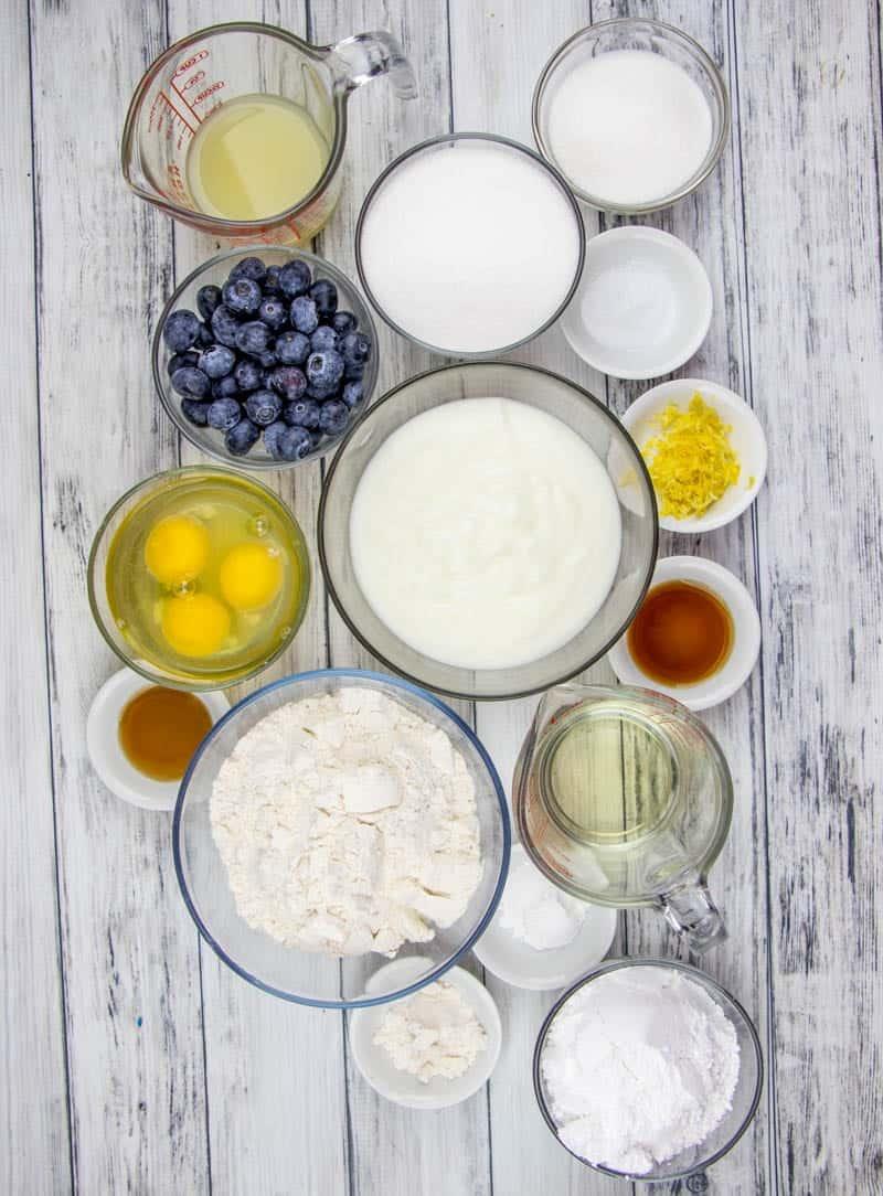 flour, yogurt, blueberries, eggs, flour, lemon juice, lemon zest, vanilla extract, milk.