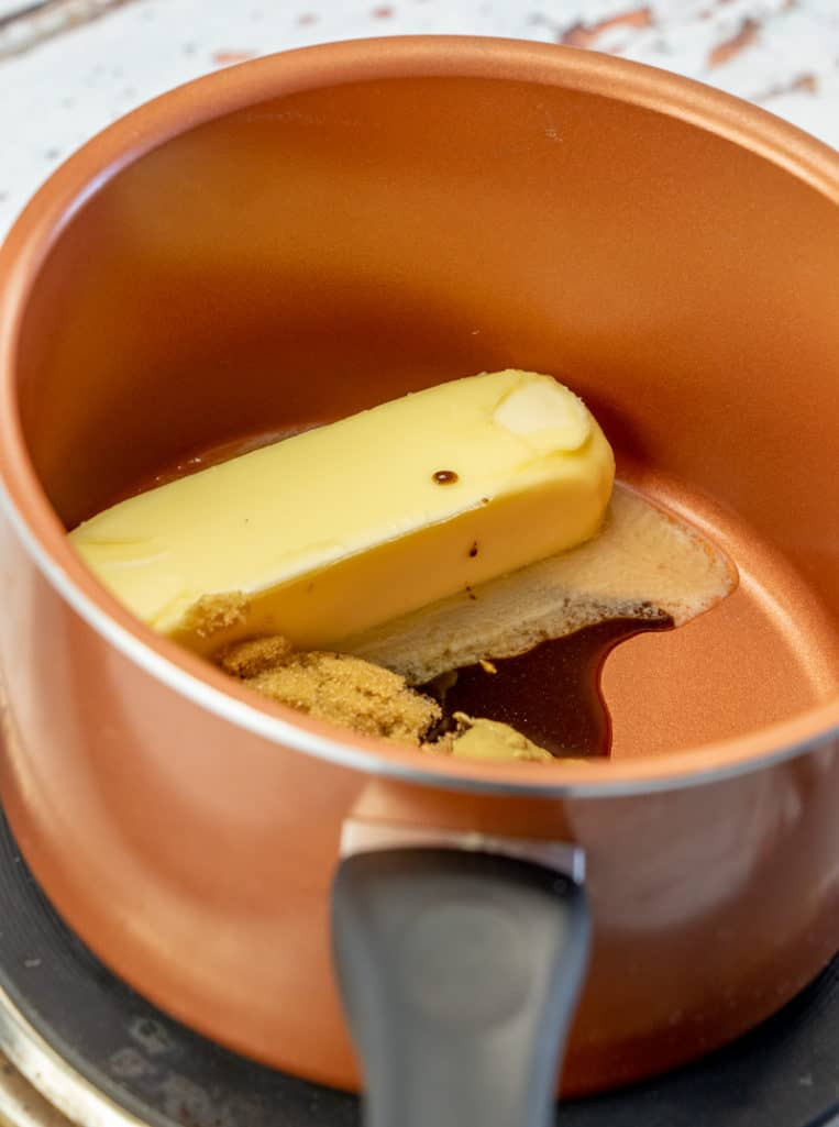 salted butter stick, brown sugar, Worcestershire sauce, mustard in a sauce pan