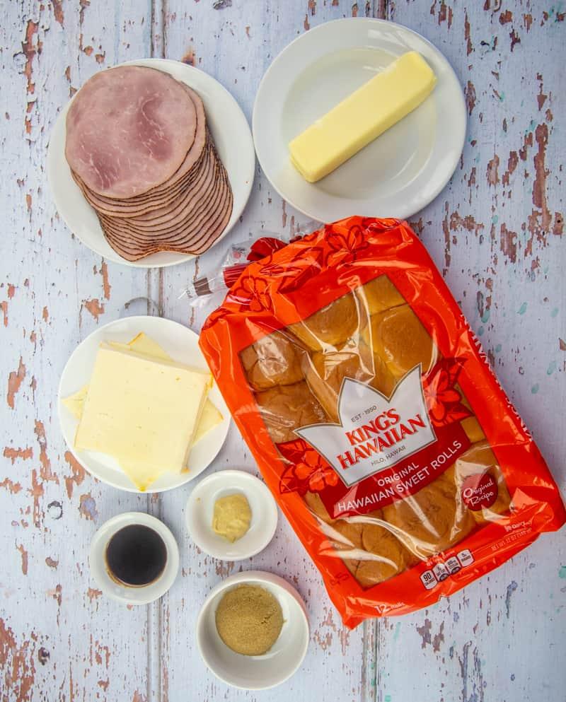Kings Hawaiian Rolls, ham slices, cheese slices, butter, mustard, Worcestershire sauce, brown sugar