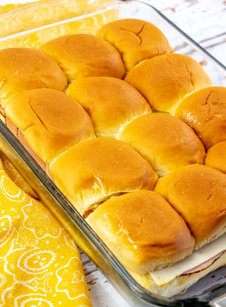 Ham and Cheese rolls in a baking dish